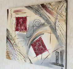 """style contemporain pour ce tableau """"Carrés reliefs rouge"""" http://www.alittlemarket.com/boutique/peinture_crea-276258.html"""