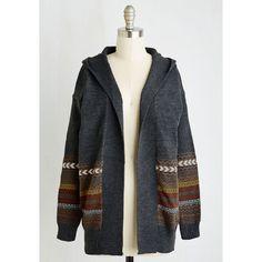 Boho Long Long Sleeve My Neck of the Hoods Cardigan ($60) ❤ liked on Polyvore featuring tops, cardigans, stripe cardigan, dark grey cardigan, long wrap cardigan, layering cardigans and wrap top