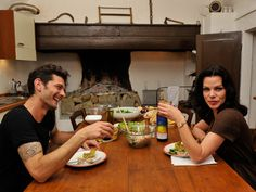 Debi Mazar and Gabriele Corcos from Extra Virgin, fav cooking show by far<3
