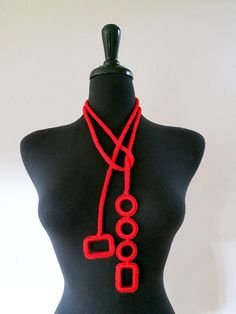 Bright Red Color Cord Rope Statement Necklace by KnitsomeStudio, $29.00