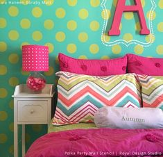 Tween's Bedroom Accent Wall | Polka Party Wall Stencil by Royal Design Studio