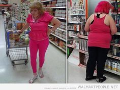 People of Walmart Part 25 - Pics 2 Am I missing something? All I see in this pic is two people wearing whatever they feel like. Seriously, not anything crazy or weird.  We're shaming grandmas for wearing pink?  I don't get it.