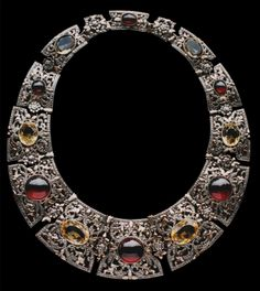Sibyl Dunlop. Arts and Crafts necklace. Silver, gold, citrine and garnet. Sold by Christie's 17 October 2000 for £4,113; Christies