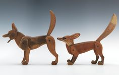 Early 1900's. fox, wolf, wood, wooden, toy, carving, sculpture, animal, woodland