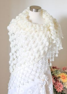 Bridal Shawl, Wedding Shawl, Bridal Shrug, Ivory Shawl, Gray Shawl and Shrug, Winter Wedding, Bridal Bolero, Crochet Shawl, Bridal Cover Up  Crochet custom shawls for your wedding and many occasion Color shown on the picture # 4 IVORY Shape, triangular Made to order Please allow me 2 to 5 days to make it. it depends on my work load. Are you in a hurry, please contact with me, if i am able to speed up your order, i can send it next day.  Measurement height---- 30 inch,76 cm width ---- 68…