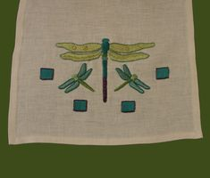 Craftsman Style Textiles Hand Embroidery Dragonfly Table Runner from Arts & Crafts Stitches