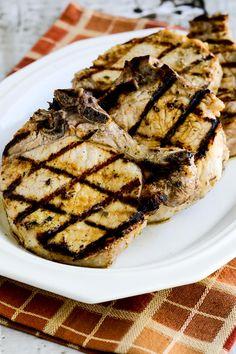 Low-Carb Greek-Seasoned Grilled Pork Chops with Lemon and Oregano found on KalynsKitchen.com