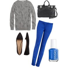 Cobalt blue pants. Black accessories. Gray top.