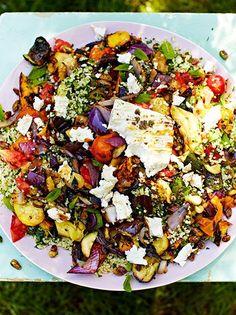 Griddled veg with feta and tabbouleh