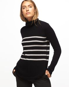 Invest in luxury knitwear this season with this polo neck. Made from 100% cashmere, it's incredibly soft and looks great with tailoring or casualwear. A relaxed fit, the jumper has a classic stripe pattern and slouchy neck, complemented by a relaxed fit and curved hem.