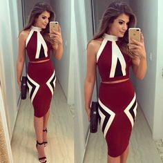 Awesome burgundy suit with black sandals and bag - LadyStyle Sexy Dresses, Casual Dresses, Short Dresses, Fashion Dresses, Skirt Outfits, Dress Skirt, Bodycon Dress, Classy Outfits, Casual Outfits