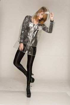 See Through Rain Coat Oversized Fit Clear Plastic by AinoDesign