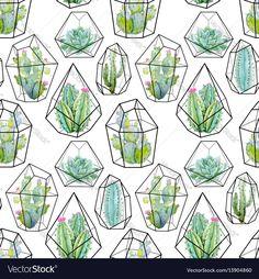 Watercolor cactus pattern Vector Image by Zenina