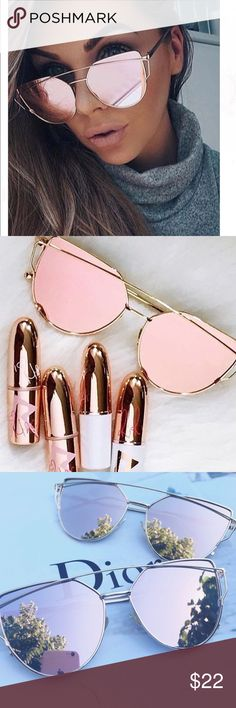 •Restock• Rose gold mirror sunglasses Best seller! Rose gold mirrored cat eye sunglasses with UV protection. 🚫 trades Accessories Sunglasses