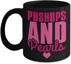 Fitness Freak Coffee Mug, Pushups And Pearls-Black Porcelain Coffee Mug 11 oz For Daughter,Teen,Women, Girlfriend Best Gift For Wife, Valentine Gift For Wife, Christmas Gifts For Wife, Birthday Gift For Wife, Breast Cancer Support, Breast Cancer Awareness, Coffee Travel, Travel Mugs, Anniversary Gifts For Wife