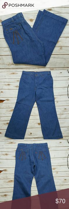 """{vintage} High waisted Levi's 70's style Levi's. High waisted. One small spot on back of right knee (pic 4). Cuffs have been hemmed, buyer may be able to unhem and make them longer. Wide leg. Waist- 17"""" flat lay (34"""", would probably fit a 32"""" best) Rise- 14.5"""" Hips- 40"""" Inseam- 27"""" Outseam- 38"""" Thigh- 11"""" flat lay Levi's Jeans Straight Leg"""