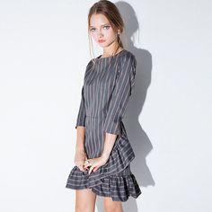 Stripe Ruffle Hem Mini Dress  $26.00 Free Worldwide Shipping www.ShopDulceVida.com . #WorkWear #Dress #Outfit #simpleoutfits #casual #skirt #blouse #romper #jumpsuit #fashion #style #trends #pretty #limited #summer