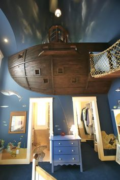 """boat loft bedroom idea for boys room, but could easily """"girlify"""" it"""