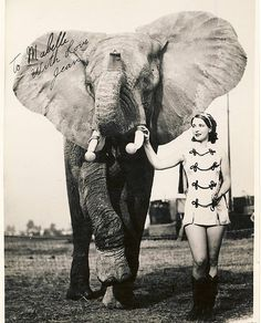 Jean Allen and Her Elephant - Circa 1930's