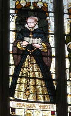 Stained glass window of Queen Mary I in the Chapel of Trinity College, Cambridge University