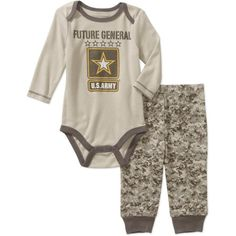 US Army Newborn Baby Boy Army Logo Long Sleeve Bodysuit and Pant Set, Size: 0 - 3 Months, Gray