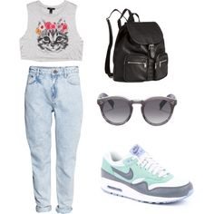 nike by tania-alves on Polyvore featuring moda, Forever 21, H&M, NIKE and Illesteva
