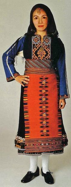 Greek traditional costume from the village of Kavakli (now: Inzovo, in the Topolovgrad region, southern Bulgaria).  Clothing style: ca. 1900.  At the time the village population was Greek for more than 90%.  This is a recent workshop-made copy, as worn by folk dance groups.