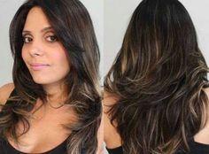 iluminação de cabelos castanhos