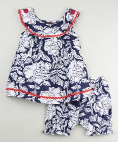 Love this Blue Floral Yoke Top & Bloomers - Infant & Toddler by Tutu AND Lulu on #zulily! #zulilyfinds