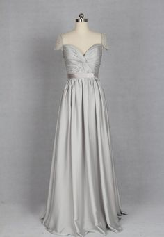 Silver Light Grey Long Prom Dress Sweetheart Sequin Chiffon ...
