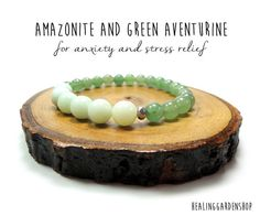 **Use promo code TRES10 for a 10% discount! :)** African Amazonite // Green Aventurine // Stress and Anxiety Relief // Energy Bracelet // Negative Energy Protection // Healing Garden Shop