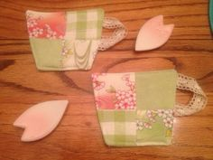 Tea for 2: pair of quilted cup-shaped coasters in cherry blossom pink