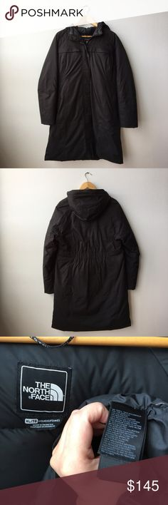 """North Face Arctic Parka Women's XL TNF Black The North Face Arctic Parka in TNF Black. Women's size XL. Down insulated jacket. Used but in great condition. Warmest coat I've ever had. Small blemish on one snap button, and faux fur trim for hood is lost. 39"""" from shoulder to bottom hem. Breast pocket for electronics on left side. Herringbone Hyvent outer shell - in my honest opinion the shell of this coat is so much nicer and prettier than the newer versions. Not interested in trades but…"""