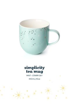 This dreamy mint porcelain mug is adorned with a limited edition starry sky design.