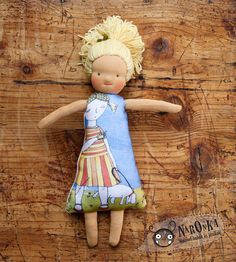 """Waldorf inspired textile doll with direct printed body, with dog illustration 30 cm /12"""""""