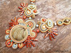 Soutache necklace soutache rust gold burnt orange white blue handmade embroidered necklace