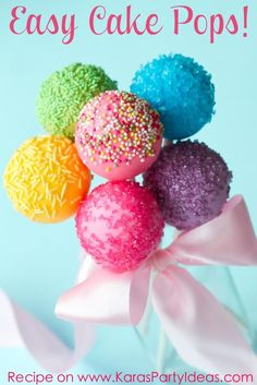 Easy Cake Pop Recipe ~ Says: Cake pops are a must have at any party or celebration! You can make them to match any party theme! Follow the recipe below to create fabulous and easy cake pops for your next event!