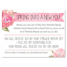 Mary Kay TimeWise Repair Refresher Facial Invite! Add your information to the bottom! Find it on www.thepinkbubble.co!!