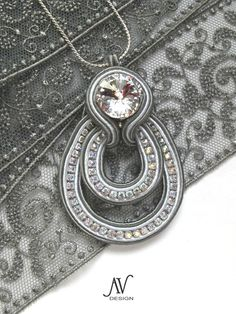 Crystal soutache pendant by anneta valious