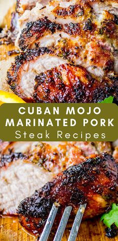 Cuban Mojo Marinated Pork Steak Recipes A traditional Cuban roasted pork recipe that is very simple, yet packed with tons of flavor! There is nothing to this pork except an amazing marinade,. Pork Roast Recipes, Pork Tenderloin Recipes, Chicken Recipes, Recipe For Pork Steak, Cooking Pork Steaks, Chopped Steak Recipes, Beef Cube Steak Recipes, Grilled Pork Steaks, Pork Tenderloin Marinade