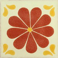 AMAPOLA, TERRA COTA/ MOSTAZA - Patterned Tile - Mexican Tile Designs
