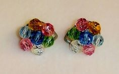 1269~Vintage Silvertone Clear Blue Pink Yellow Green Crystal Cluster Earrings** #Cluster
