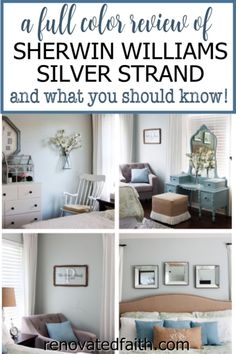 WHAT YOU SHOULD KNOW before painting your bedroom, bathroom or living room this vibrant paint color. Here's a full review along with how to decorate around this dynamic color!So what color is Sherwin Williams Silver Strand? A Joanna Gaines top pick, this gray has gorgeous blue and green undertones so it's important to know how to decorate & what colors go with Sherwin Williams Silver Strand. Included are SWSS paint strip comparisons (vs. Sea Salt). Bedroom Decor On A Budget, Decorating On A Budget, Living Room Decor, Diy Home Decor, Bedroom Ideas, Sherwin Williams Silver Strand, Grey Bedroom Paint, Farmhouse Master Bedroom, Bedroom Décor