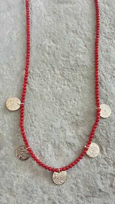 Red Coral Silver Tone Coin Ethnic Bohemian Necklace Mother's Day Gift by Lycidasjewelry on Etsy Bohemian Necklace, Beaded Necklace, Red Coral, Mother Day Gifts, Ethnic, Coins, Jewellery, Trending Outfits, Unique Jewelry