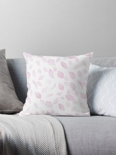 Falling sakura petals throw pillow by Anastasia Shemetova #faerieshop #pattern #beautiful #pink #cherry #blossom #sakura #fall #petal #flying #redbubble #home #decoration #bedroom