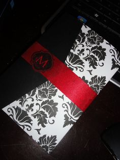 DIY Damask Invitation Mockup : wedding black diy invitations red white. This girl did it herself! I wonder how much it cost!