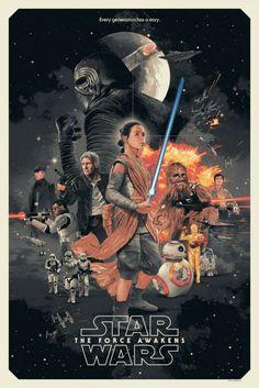 Star Wars: The Force Awakens Retro Póster