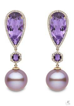 Yoko London Rose Gold Earrings featuring Pink Freshwater Pearls, Amethysts and Diamonds.