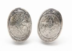Gleaming 925 Sterling Silver Vintage pre-1948 Siam Etched Clip-on Earrings 7.7g  #Siam #Clip