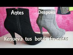 Forra tus botas viejas con mezclilla y renuévalas DIY - YouTube